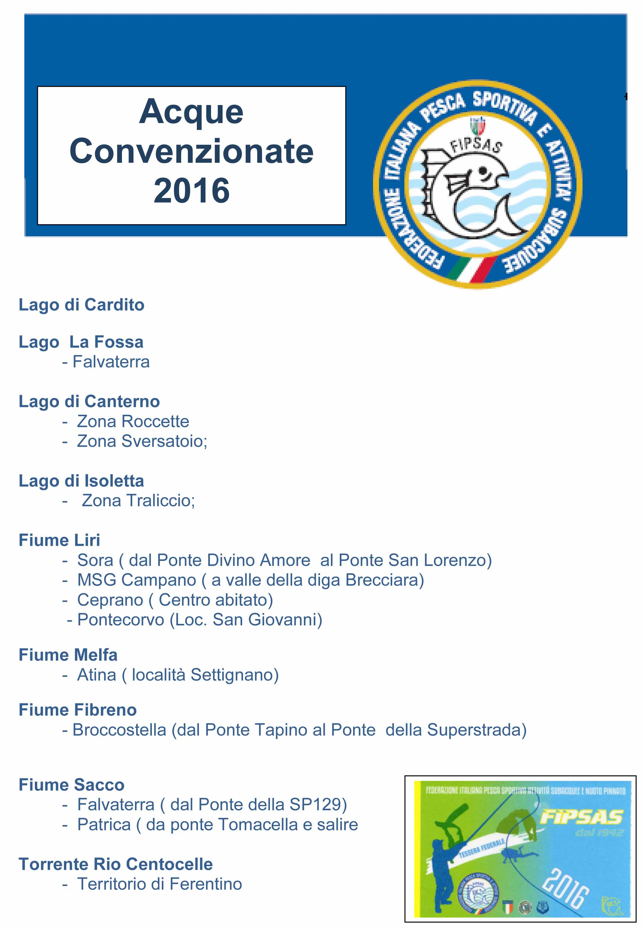 ACQUE IN GESTIONE FIPSAS 2016